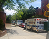 11 ambulances overcrowding Methodist Hospital. Wait times over an hour for ambulances to drop off patients